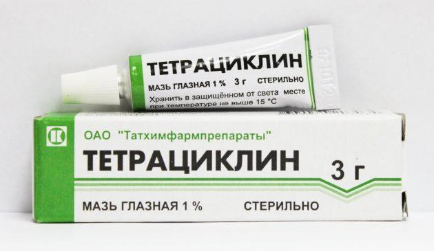 Тетрациклиновая мазь применяется в лечении ячменя на глазу